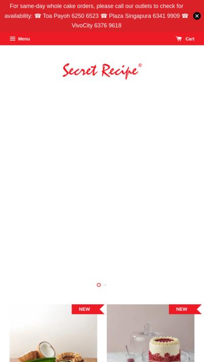 EasyStore merchant | Secret Recipe Singapore