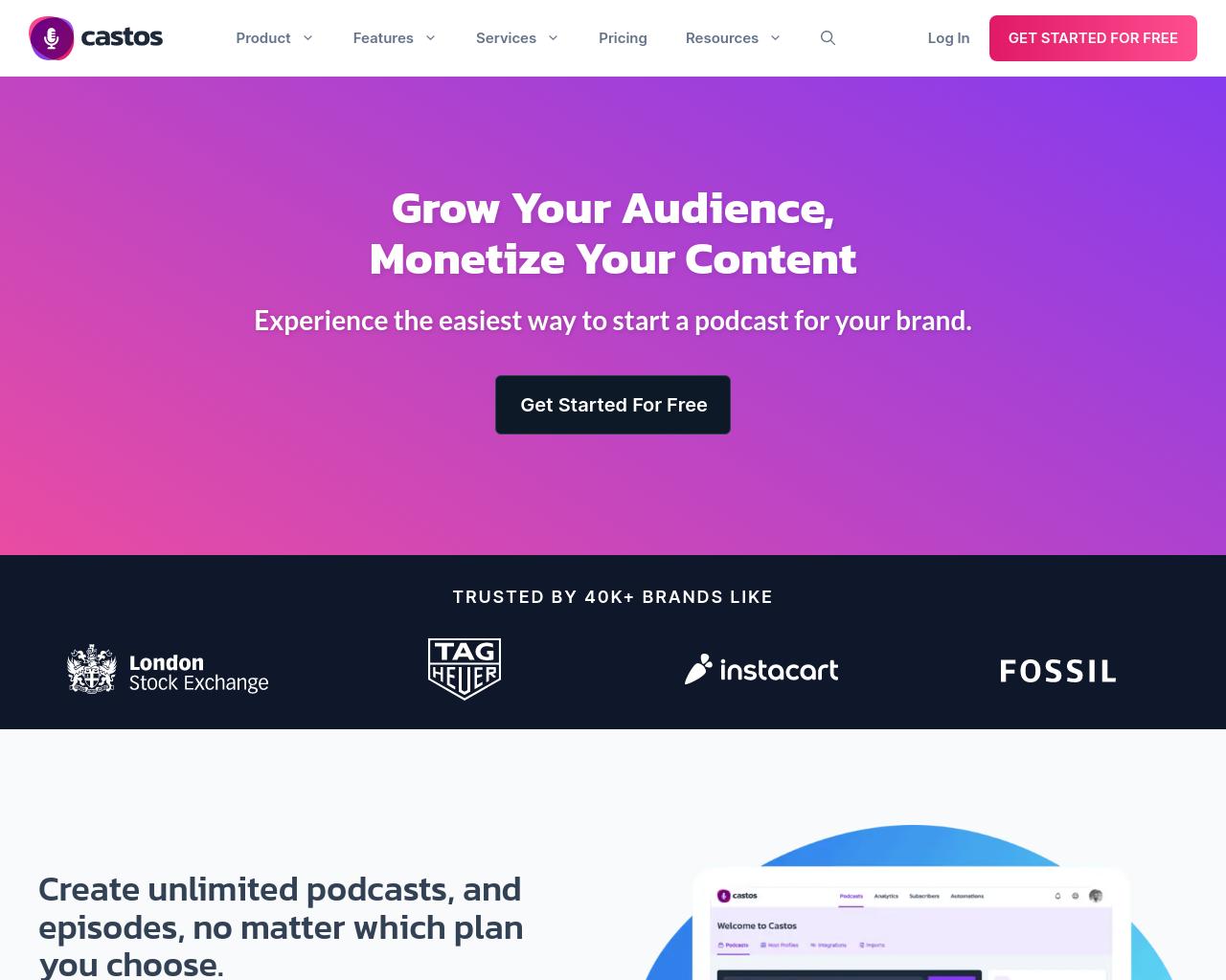 Castos homepage