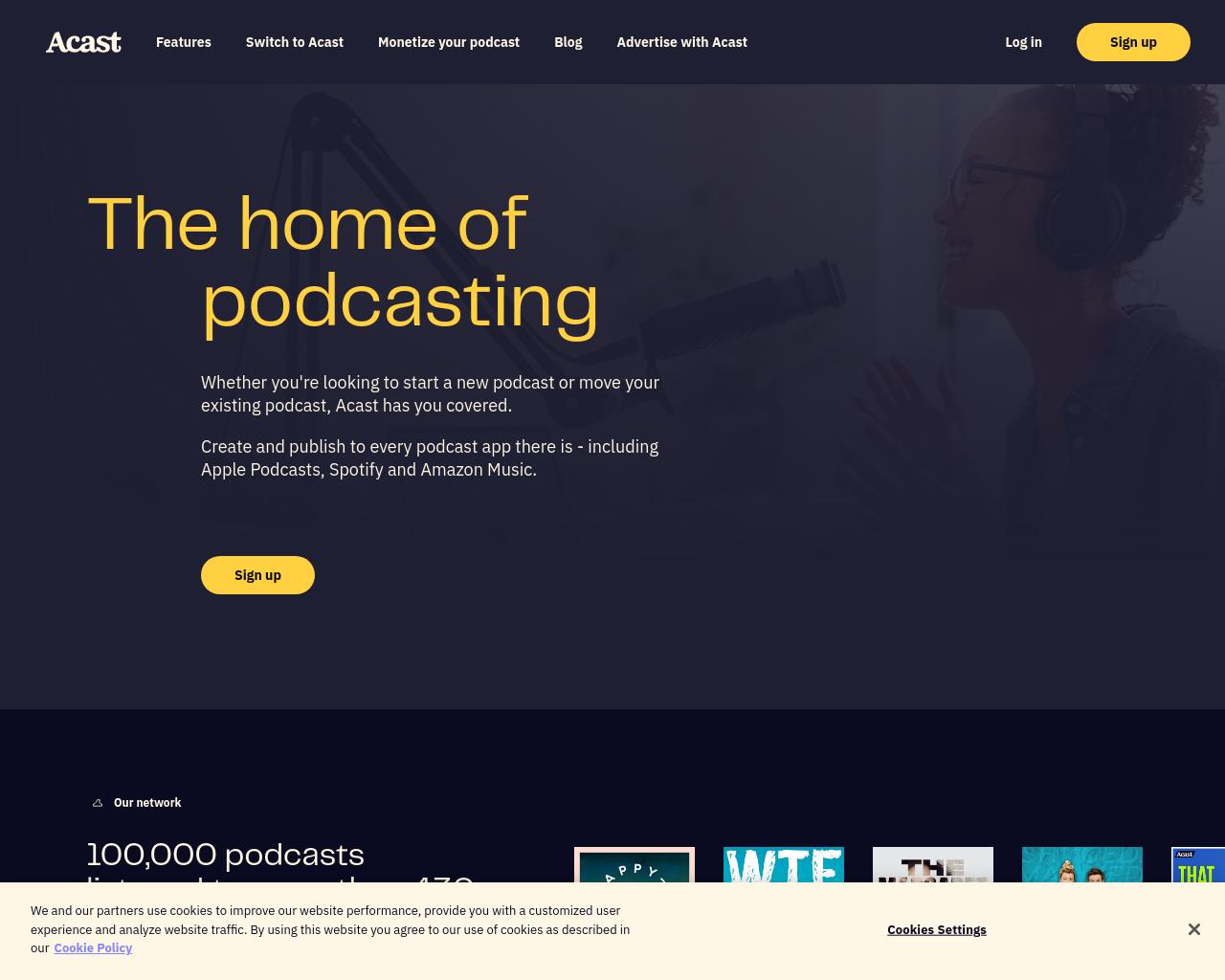 Acast homepage