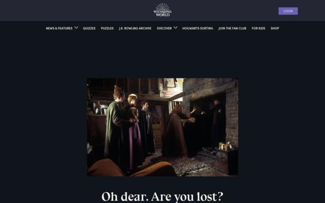Screenshot of Pottermore
