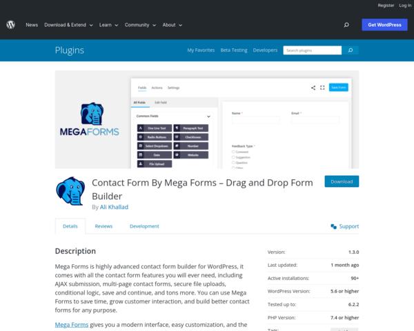 https://wordpress.org/plugins/mega-forms/
