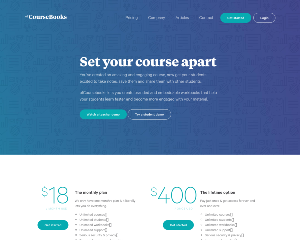 ofCourseBooks: Interactive workbooks for online courses.