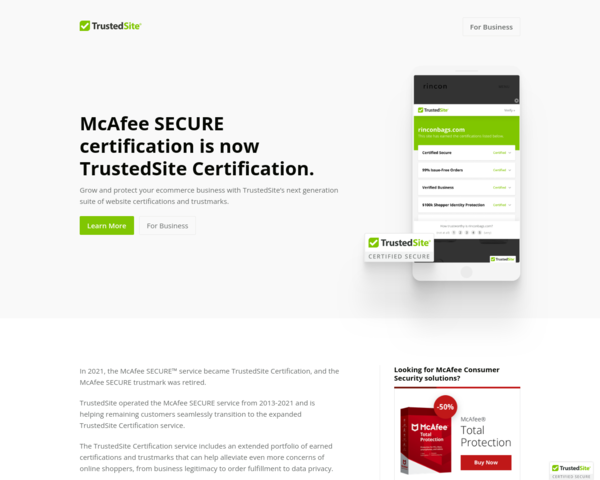 http://www.mcafeesecure.com