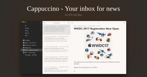 Cappuccino: Free RSS feed reader for Mac with live updates