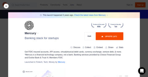 Mercury: Bank accounts built for startups | ⚡ Hype URLs