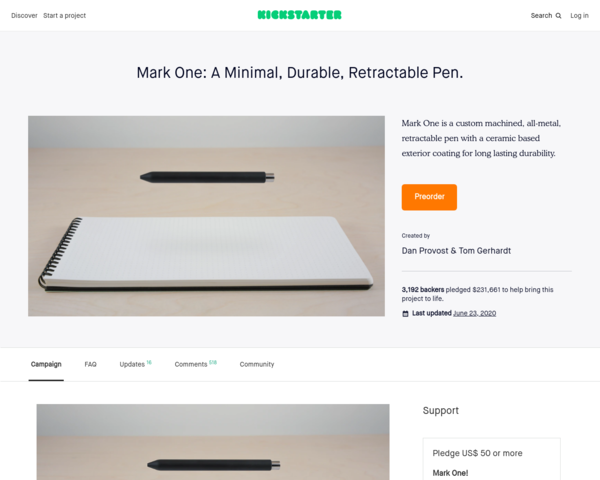 https://www.kickstarter.com/projects/danprovost/mark-one-a-minimal-durable-retractable-pen