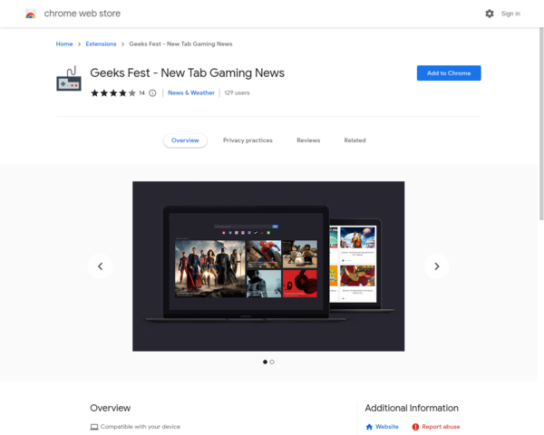 https://chrome.google.com/webstore/detail/geeks-fest-new-tab-gaming/klpopehbdgalchfjnkgdbkkphejdhckl