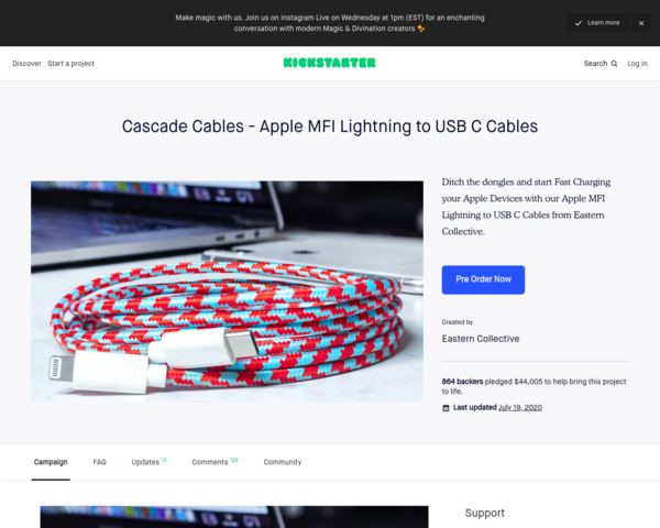 https://www.kickstarter.com/projects/easternco/cascade-cables-apple-mfi-lightning-to-usb-c-cables
