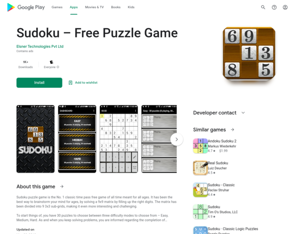 https://play.google.com/store/apps/details?id=com.elsner.sudoku