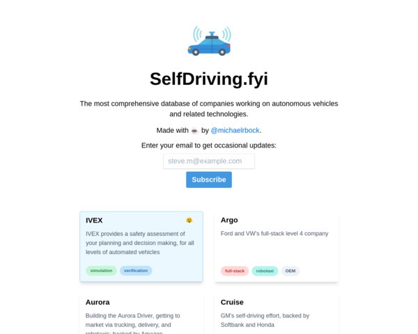 https://selfdriving.fyi/