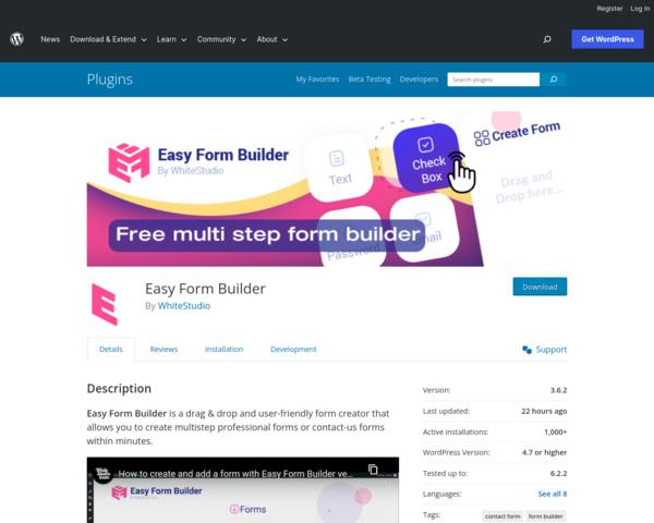https://wordpress.org/plugins/easy-form-builder/