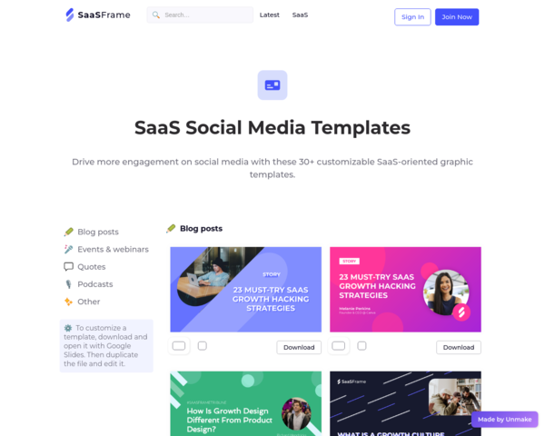 https://www.saasframe.io/social-media-templates