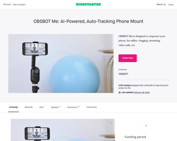 https://www.kickstarter.com/projects/obsbot-me/obsbot-me-ai-powered-selfie-phone-mount