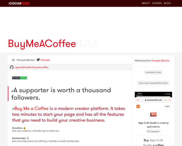 https://cocoapods.org/pods/BuyMeACoffee
