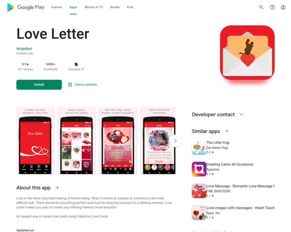 https://play.google.com/store/apps/details?id=com.widered.lovelettercards