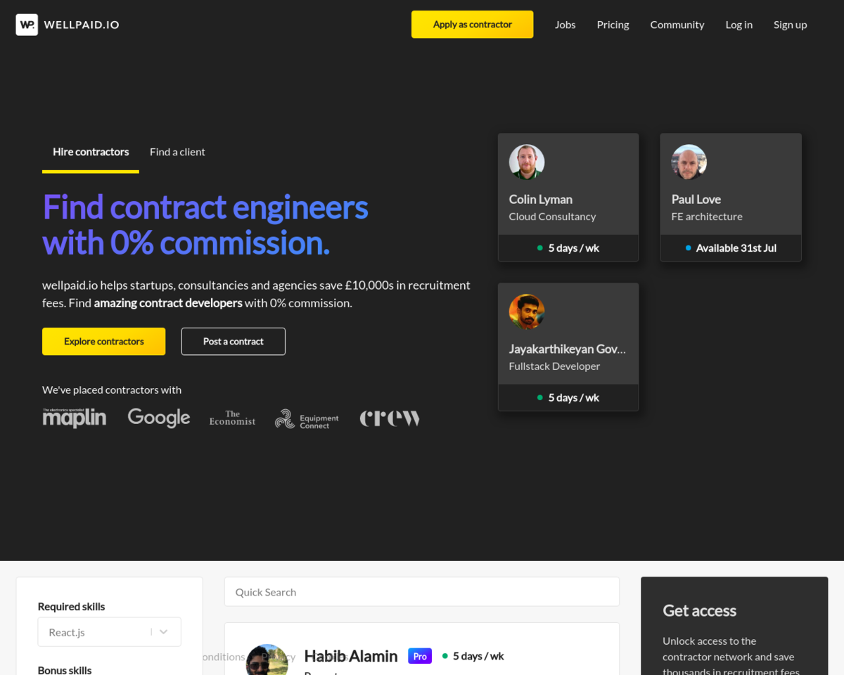 wellpaid io: Contract-only jobs board, with remote jobs