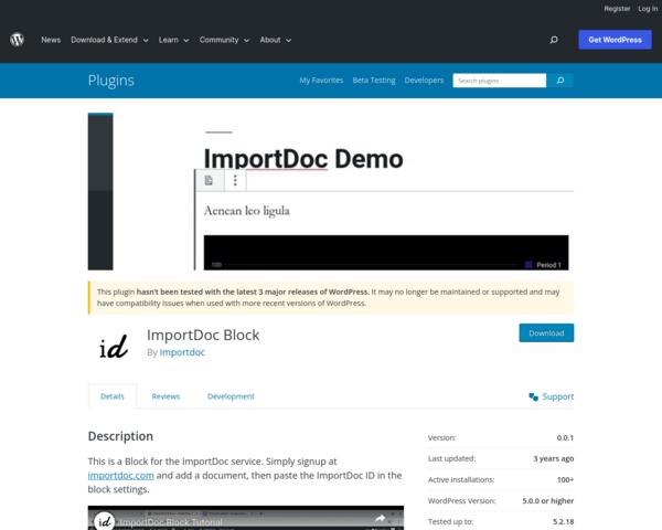 https://wordpress.org/plugins/importdoc-block/
