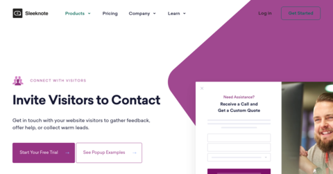 Connect With Visitors by Sleeknote