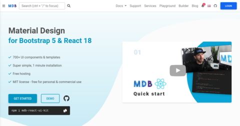 React Bootstrap Material UI Kit: Free UI Kit built with React