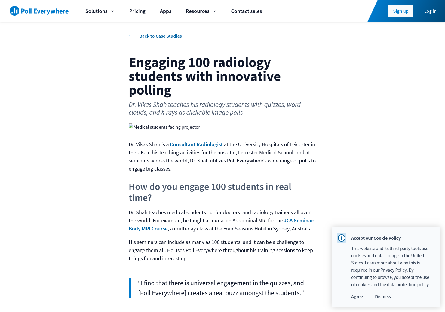 Engaging 100 radiology students with innovative polling