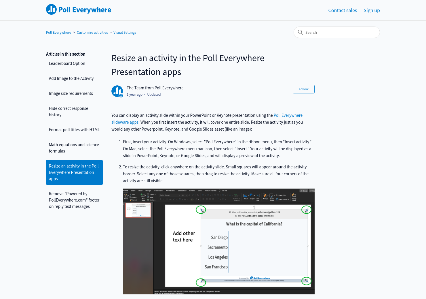 Resize an activity in the Poll Everywhere Presentation apps