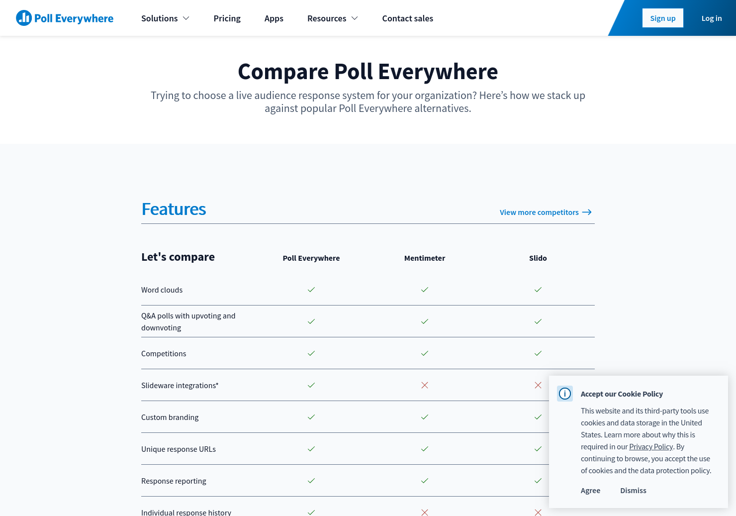 Audience response system comparison | Poll Everywhere