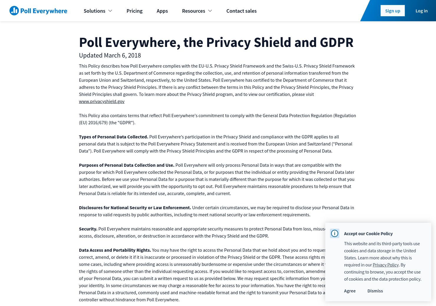 Privacy Shield Policy Poll Everywhere Data Security Statement