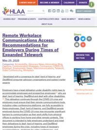 Remote Workplace Communications Access: Recommendations for Employers During Times of Expanded Telework