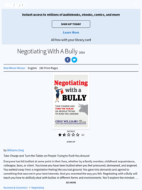 Negotiating with a Bully: Take Charge and Turn the Tables on People Trying to Push You Around | Greg Williams | ebook | 2018