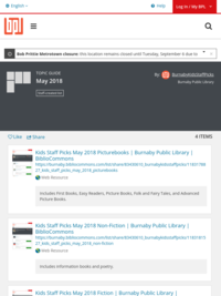 May 2018 | Burnaby Public Library | BiblioCommons
