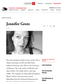 Poetry Foundation Page for Jennifer Grotz