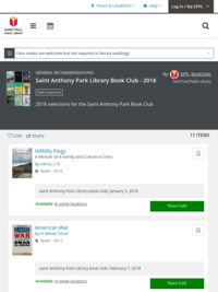 Saint Anthony Park Library Book Club - 2018