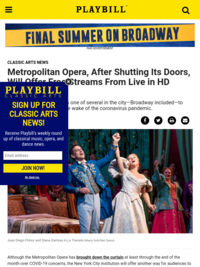 Metropolitan Opera Free Streams | Playbill