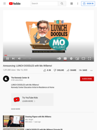 Mo Willems! Announcing: LUNCH DOODLES with Mo Willems! on YouTube 10:00 a.m. PST daily