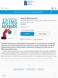 Aging Backwards - Hamilton Public Library - OverDrive