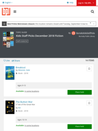 Kids Staff Picks December 2018 Fiction | Burnaby Public Library | BiblioCommons