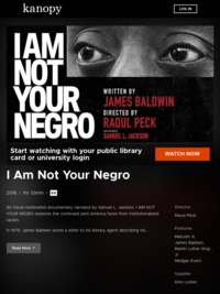 I Am Not Your Negro | Kanopy