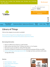 Library of Things | Nelson Public Library