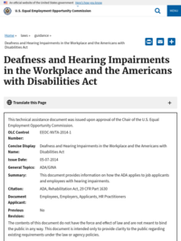 Deafness and Hearing Impairments in the Workplace and the Americans with Disabilities Act