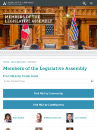 British Columbia - Elected Officials (MLA - Members of the Legislative Assembly)