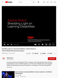 Shedding Light on Learning Disabilities: Sophie Ghauri at TEDxYouth@ISASDuchesneAcademy - YouTube