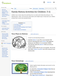 Family Search: Family History Activities for Children: 3-11 Genealogy