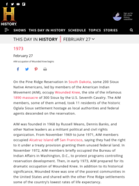 This Day in History: AIM occupation of Wounded Knee begins
