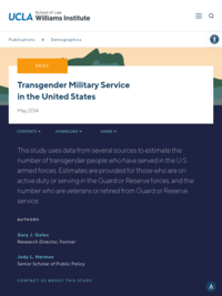 Transgender Military Service in the United States (May 2014). Gary J. Gates and Jody L. Herman, The Williams Institute.