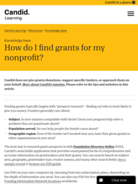 How do I find grants for my nonprofit?