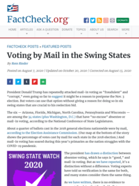 Voting by Mail in the Swing States