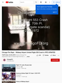 YouTube: Chicago Fire Dept. - Midway Airport United Flight 553 Crash