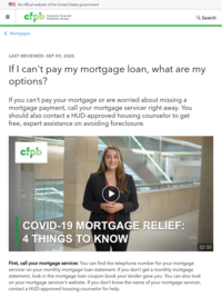 Consumer Financial Protection Bureau - If I can't pay my mortgage loan, what are my options?