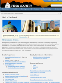 Pima County Board of Supervisors Meetings - Agendas and Minutes