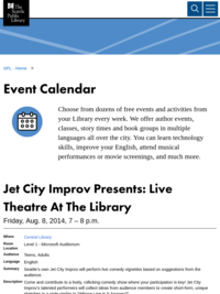 Jet City Improv live at Central Library